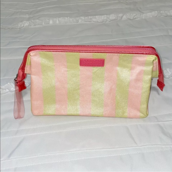 Benefit Cosmetics Sparkle Glitter Makeup Cosmetic Bag Yellow & Pink